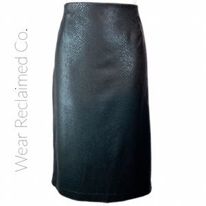 LAURA Black Snakeskin Print Lined Pencil Skirt